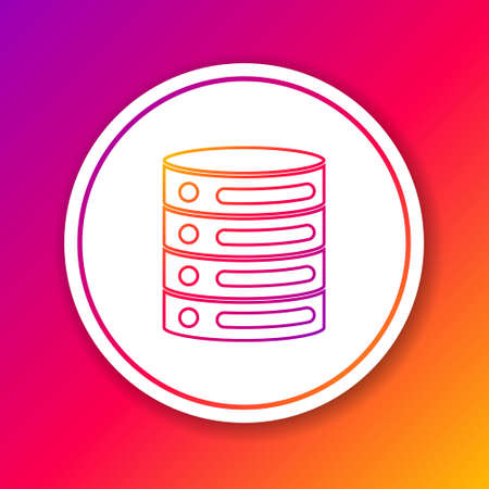 Color line Server, Data, Web Hosting icon isolated on color background. Circle white button. Vector. 向量圖像