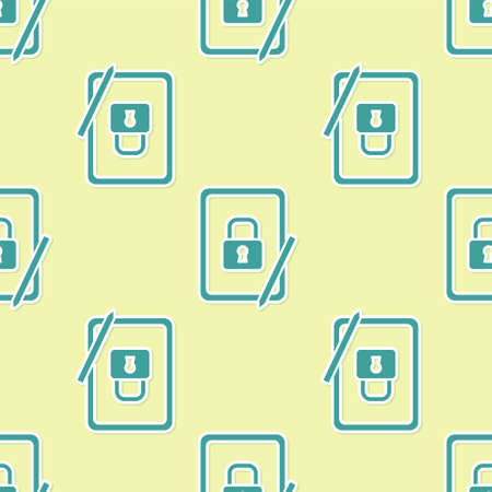 Green Graphic tablet with closed padlock icon isolated seamless pattern on yellow background. Phone with lock. Mobile security, safety, protection concept. Vector.