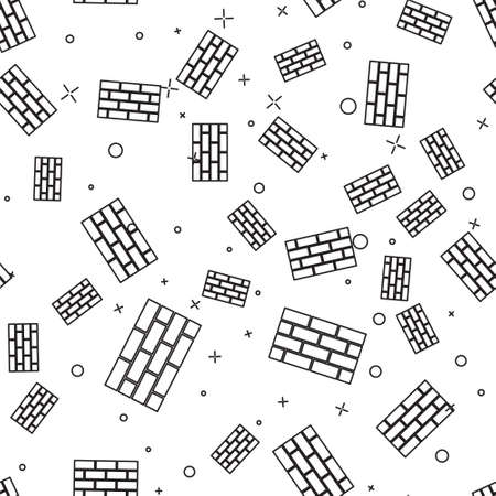 Black line Firewall, security wall icon isolated seamless pattern on white background. Vector. 向量圖像