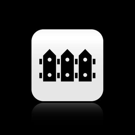 Black Garden fence wooden icon isolated on black background. Silver square button. Vector.