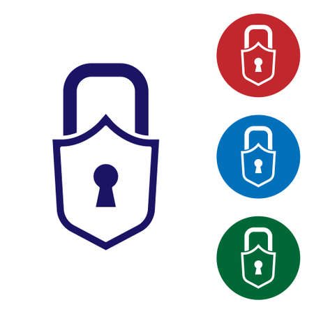 Blue Lock icon isolated on white background. Padlock sign. Security, safety, protection, privacy concept. Set icons in color square buttons. Vector. 向量圖像
