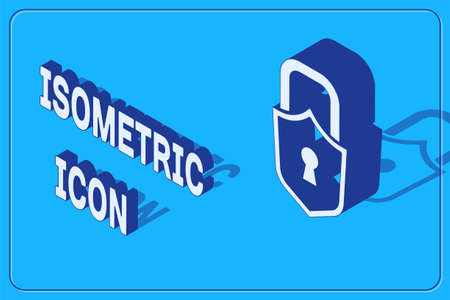 Isometric Lock icon isolated on blue background. Padlock sign. Security, safety, protection, privacy concept. Vector. 向量圖像