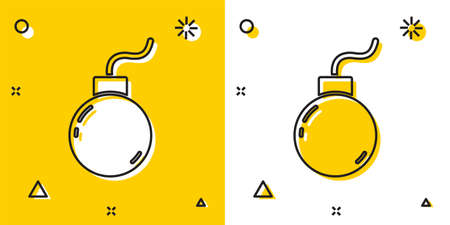 Black Bomb ready to explode icon isolated on yellow and white background. Random dynamic shapes. Vector.
