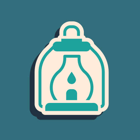 Green Camping lantern icon isolated on green background. Long shadow style. Vector. 일러스트