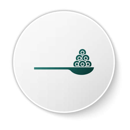 Green Caviar on a spoon icon isolated on white background. White circle button. Vector..