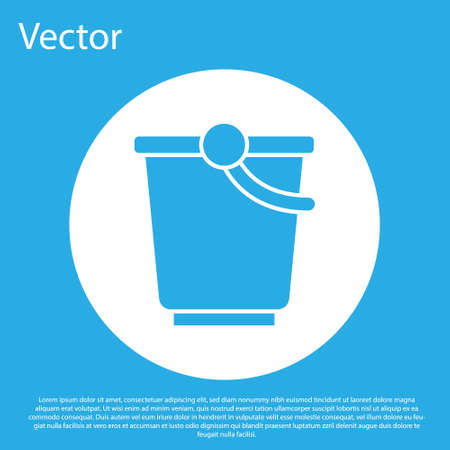 Blue Bucket icon isolated on blue background. White circle button. Vector. Ilustrace