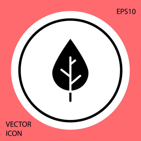 Black Leaf icon isolated on red background. Fresh natural product symbol. White circle button. Vector.