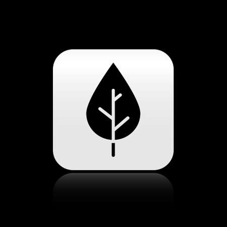 Black Leaf icon isolated on black background. Fresh natural product symbol. Silver square button. Vector.