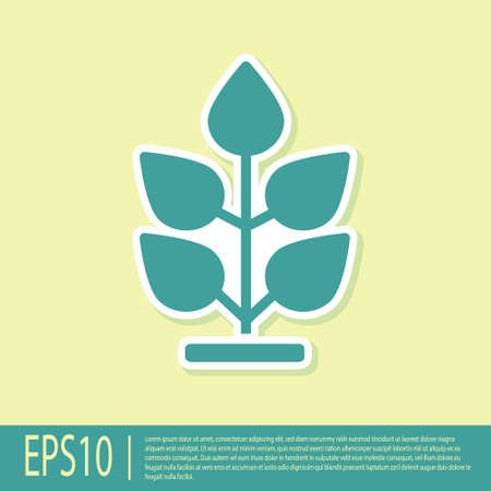 Green Plant icon isolated on yellow background. Seed and seedling. Leaves sign. Leaf nature. Vector.