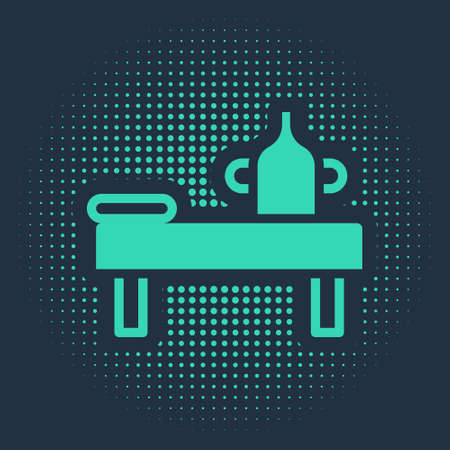 Green Massage table with oil icon isolated on blue background. Abstract circle random dots. Vector.