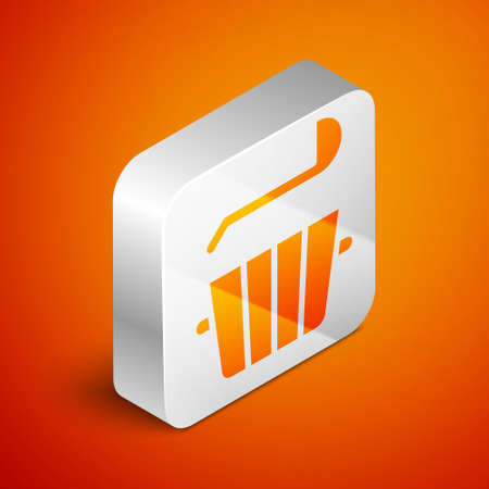 Isometric Sauna bucket and ladle icon isolated on orange background. Silver square button. Vector. Stock Illustratie