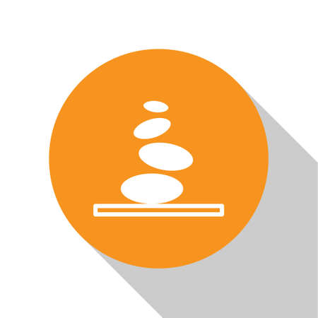 White Stack hot stones icon isolated on white background. Spa salon accessory. Orange circle button. Vector. 向量圖像