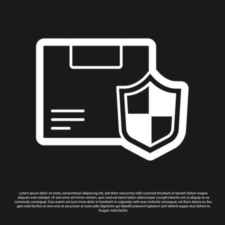 Black Delivery security with shield icon isolated on black background. Delivery insurance. Insured cardboard boxes beyond the shield. Vector..
