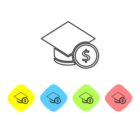 Grey line Graduation cap and coin icon isolated on white background. Education and money. Concept of scholarship cost or loan, tuition or study fee. Set icons in color rhombus buttons. Vector.. Vettoriali