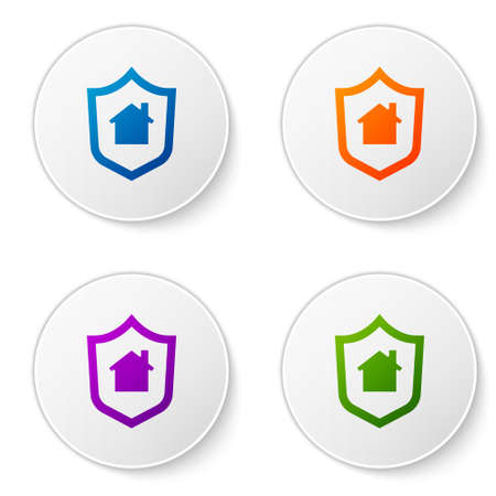 Color House with shield icon isolated on white background. Insurance concept. Security, safety, protection, protect concept. Set icons in circle buttons. Vector.. Illusztráció