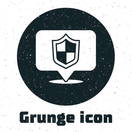 Grunge Location shield icon isolated on white background. Insurance concept. Guard sign. Security, safety, protection, privacy concept. Monochrome vintage drawing. Vector..