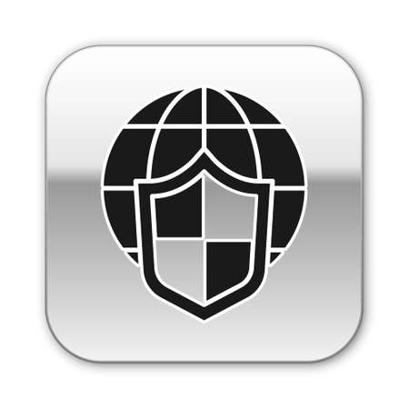 Black Shield with world globe icon isolated on white background. Insurance concept. Security, safety, protection, privacy concept. Silver square button. Vector.. Illusztráció