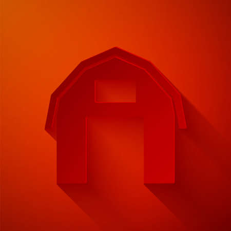 Paper cut Farm house icon isolated on red background. Paper art style. Vector.