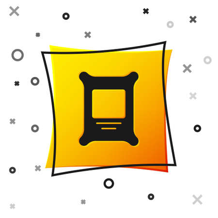 Black Fertilizer bag icon isolated on white background. Yellow square button. Vector. 일러스트