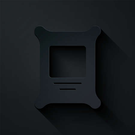 Paper cut Fertilizer bag icon isolated on black background. Paper art style. Vector.