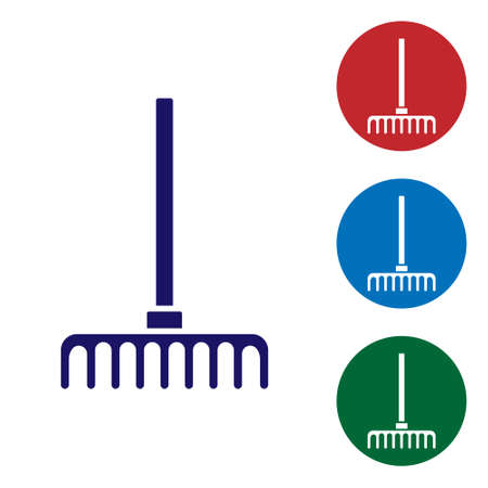 Blue Garden rake icon isolated on white background. Tool for horticulture, agriculture, farming. Ground cultivator. Set icons in color square buttons. Vector.