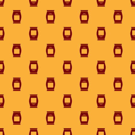 Red Fertilizer bag icon isolated seamless pattern on brown background. Vector.
