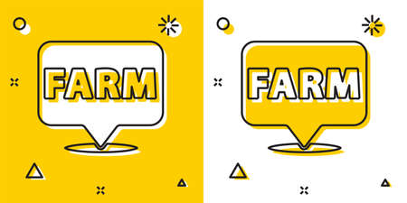 Black Location farm icon isolated on yellow and white background. Random dynamic shapes. Vector.