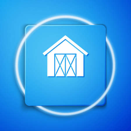 White Farm house icon isolated on blue background. Blue square button. Vector.