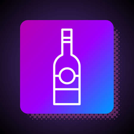 White line Glass bottle of vodka icon isolated on black background. Square color button. Vector.