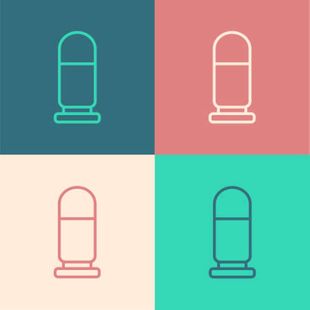 Pop art line Bullet icon isolated on color background. Vector.