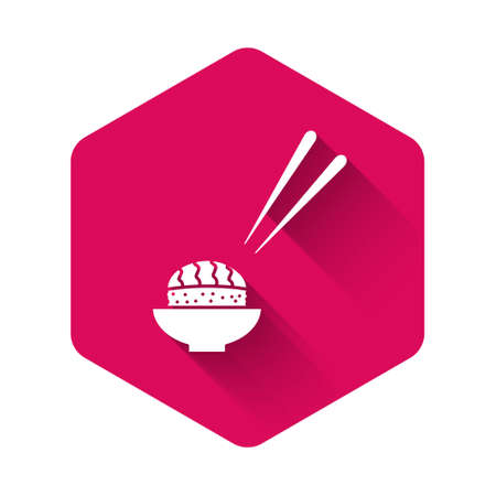 White Sushi icon isolated with long shadow. Traditional Japanese food. Pink hexagon button. Vector.. Ilustrace