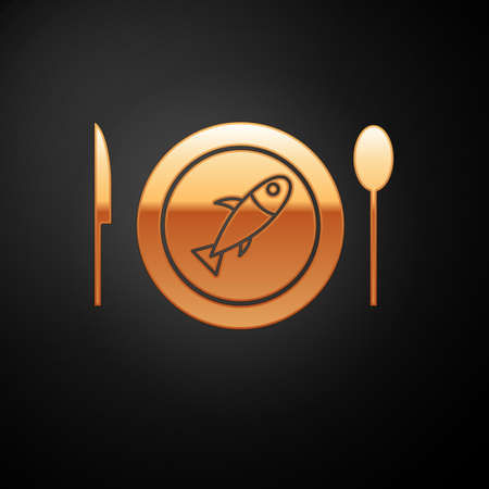 Gold Served fish on a plate icon isolated on black background. Vector..
