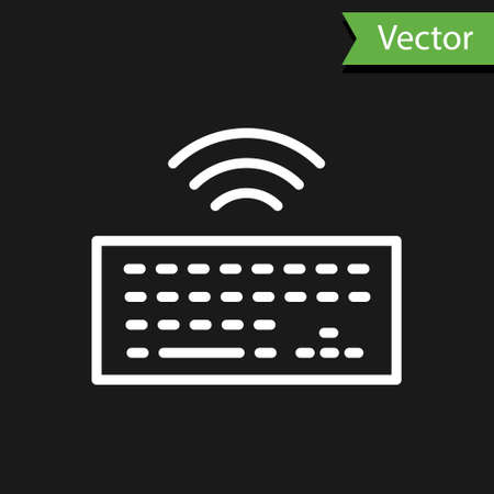 White line Wireless computer keyboard icon isolated on black background. PC component sign. Internet of things concept with wireless connection. Vector.