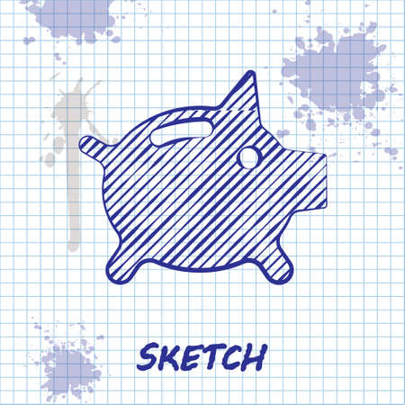 Sketch line Piggy bank icon isolated on white background. Icon saving or accumulation of money, investment. Vector..