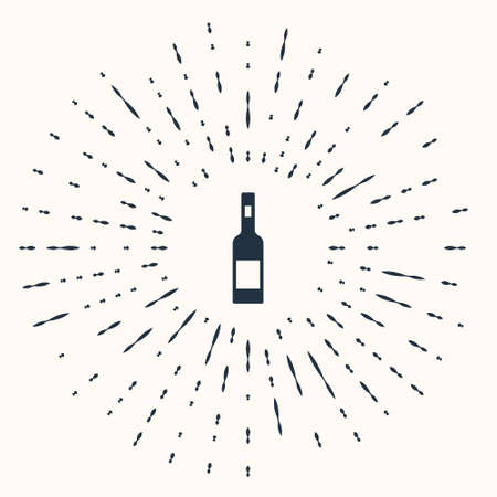 Grey Glass bottle of vodka icon isolated on beige background. Abstract circle random dots. Vector. Ilustracja