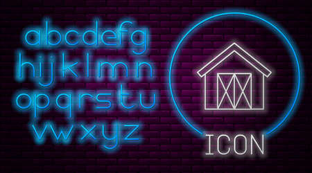Glowing neon line Farm house icon isolated on brick wall background. Neon light alphabet. Vector. Çizim