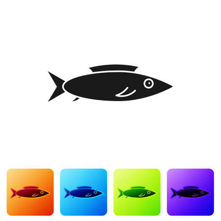 Black Fish icon isolated on white background. Set icons in color square buttons. Vector.. Ilustrace