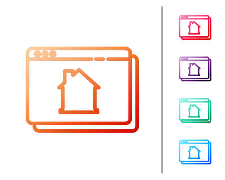 Red line Online real estate house in browser icon isolated on white background. Home loan concept, rent, buy, buying a property. Set color icons. Vector.