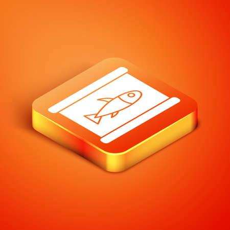 Isometric Canned fish icon isolated on orange background. Vector..