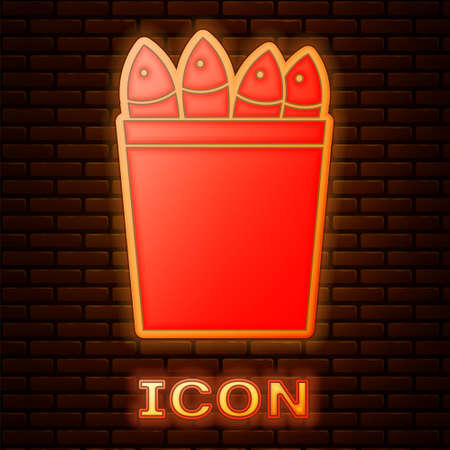 Glowing neon Fishing bucket with fishes icon isolated on brick wall background. Fish in a bucket. Vector.. Ilustrace