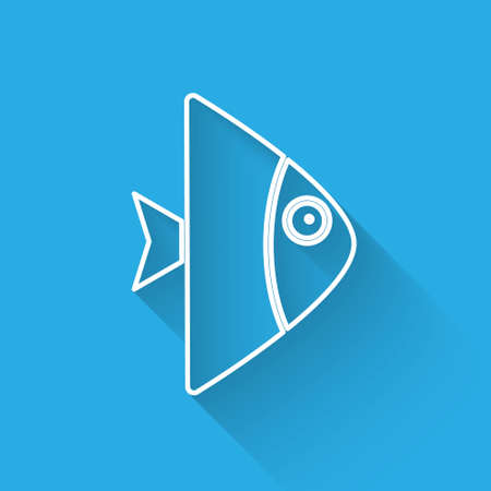 White line Fish icon isolated with long shadow. Vector..