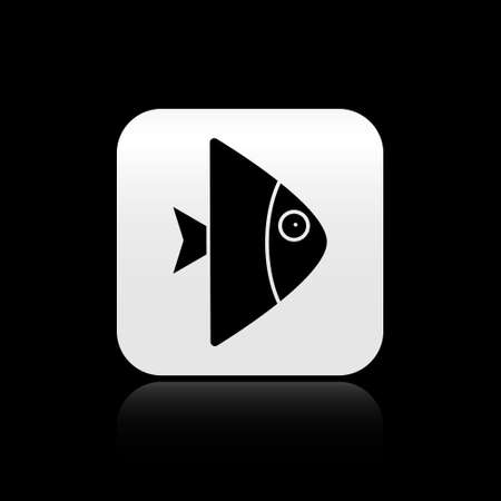 Black Fish icon isolated on black background. Silver square button. Vector.. Ilustrace