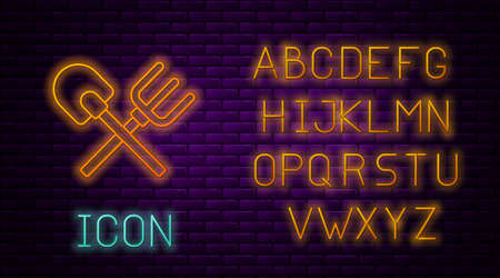 Glowing neon line Shovel and rake icon isolated on brick wall background. Tool for horticulture, agriculture, gardening, farming. Ground cultivator. Neon light alphabet. Vector.