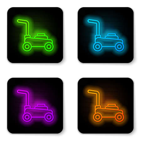 Glowing neon line Lawn mower icon isolated on white background. Lawn mower cutting grass. Black square button. Vector.