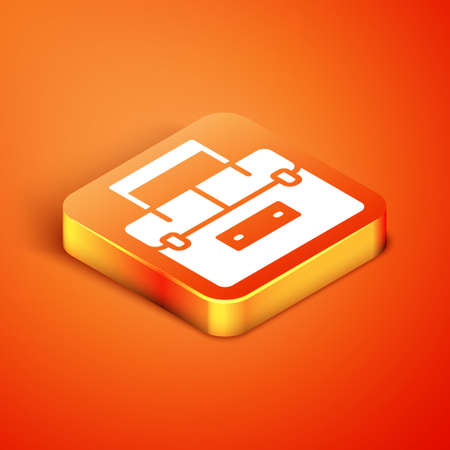 Isometric Case or box container for wobbler and gear fishing equipment icon isolated on orange background. Fishing tackle. Vector.