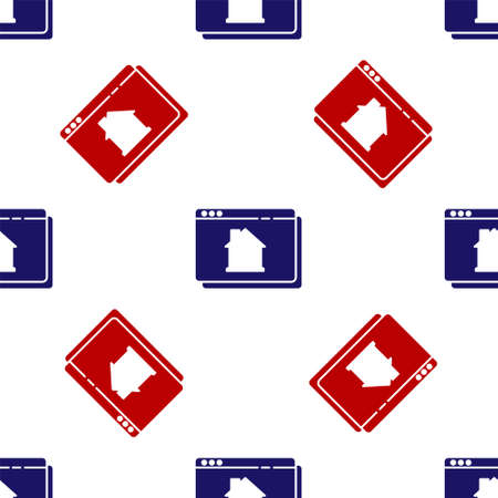 Blue and red Online real estate house in browser icon isolated seamless pattern on white background. Home loan concept, rent, buy, buying a property. Vector.