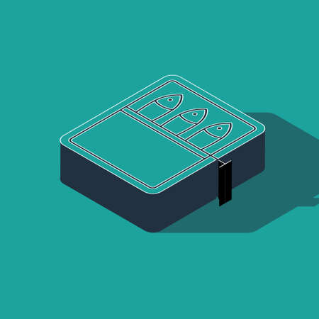 Isometric Canned fish icon isolated on green background. Vector..