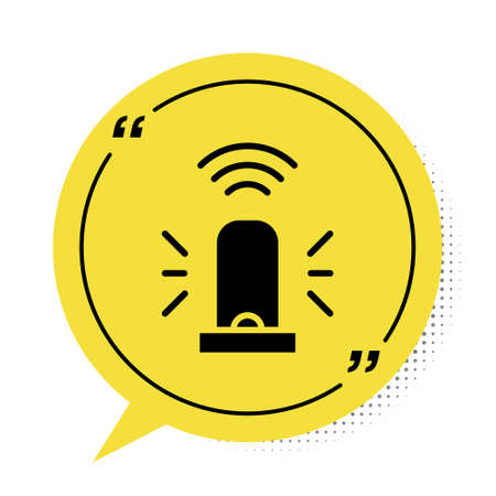 Black Smart flasher siren system icon isolated on white background. Emergency flashing siren. Internet of things concept with wireless connection. Yellow speech bubble symbol. Vector.