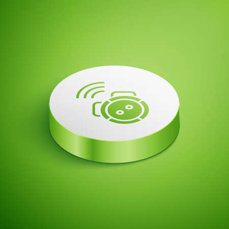 Isometric Robot vacuum cleaner icon isolated on green background. Home smart appliance for automatic vacuuming, digital device for house cleaning. White circle button. Vector.