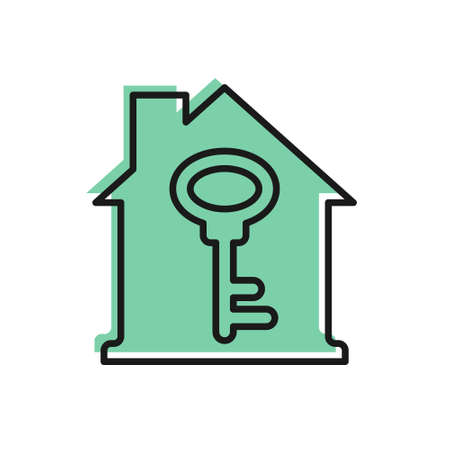 Black line House with key icon isolated on white background. The concept of the house turnkey. Vector.